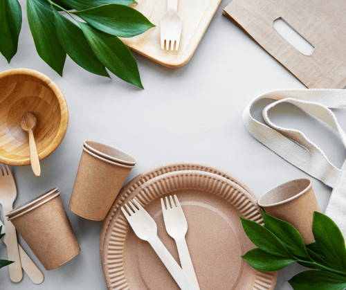 recyclable paper plates and cutlery as alternatives to single-use plastic