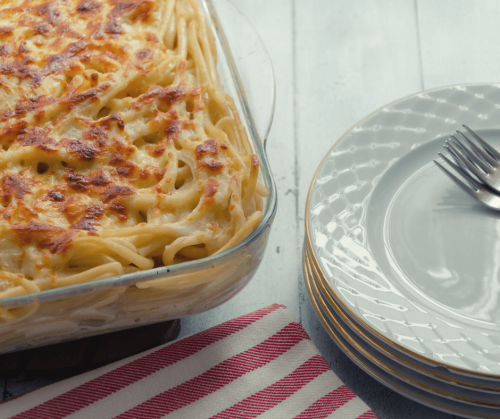 photo of baked pasta in glass bakeware