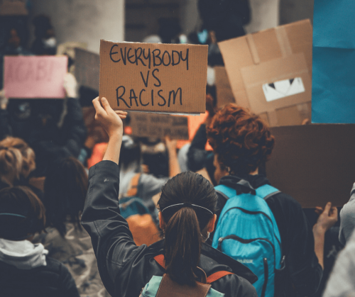 """photo by arthur endelman showing a protester holding a sign saying """"eveyone vs. racism"""""""