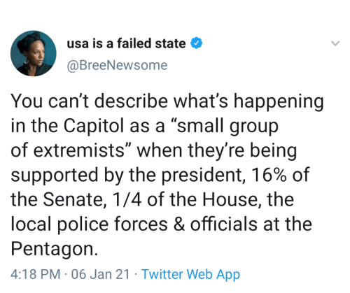 """Tweet by Bree Newsome that reads: You can't describe what's happening in the Capitol as a """"small group of extremeists"""" when they're being supported by the president, 16% of the Senate, 1/4 of the House, the local police forces & officials at the Pentagon."""