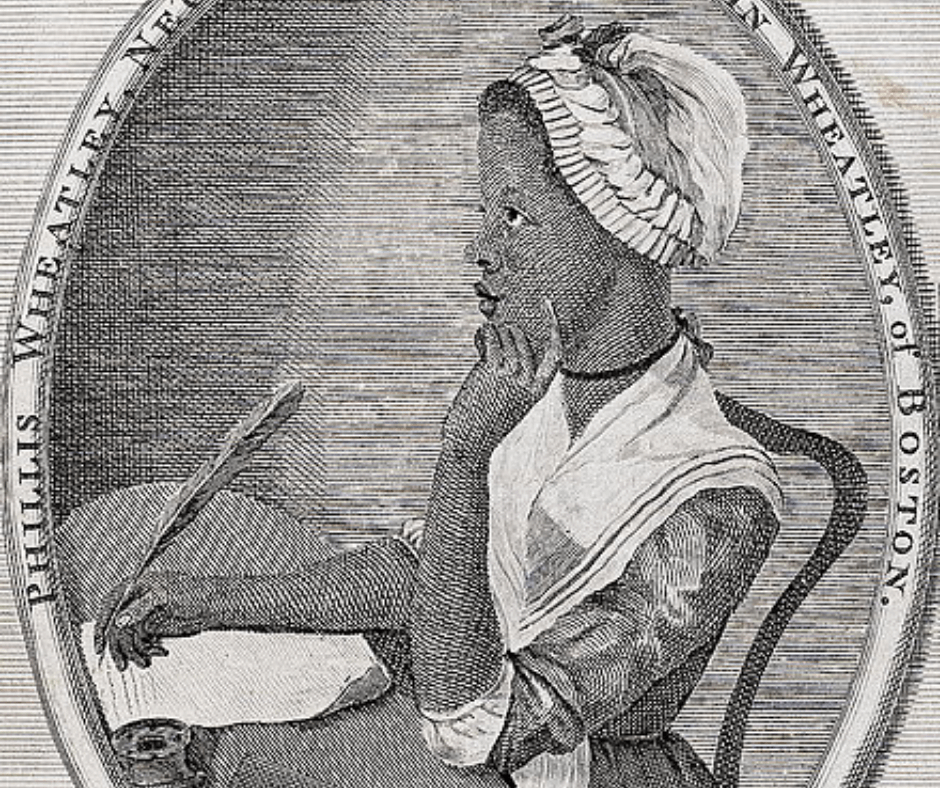 A historical sketch/etching from 1773 depicting Phillis Wheatley the first Black person in America to publish a book of poem.