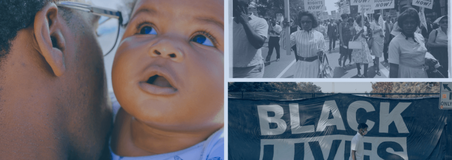 a photo montage of Black families and moments from Black history.