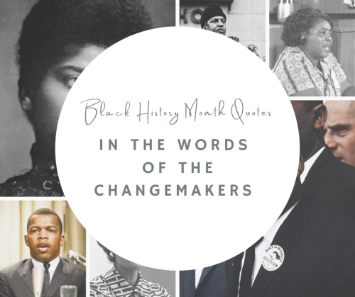 graphic link to an advocacy and news post on transatlantic notes called black history month in the words of the changemakers