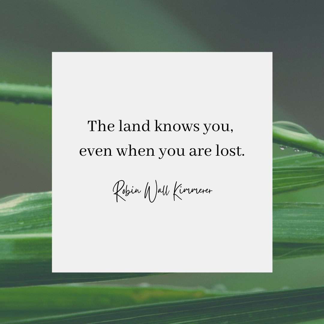 A Robin Wall Kimmere quote that reads: The land knows you, even when you are lost.