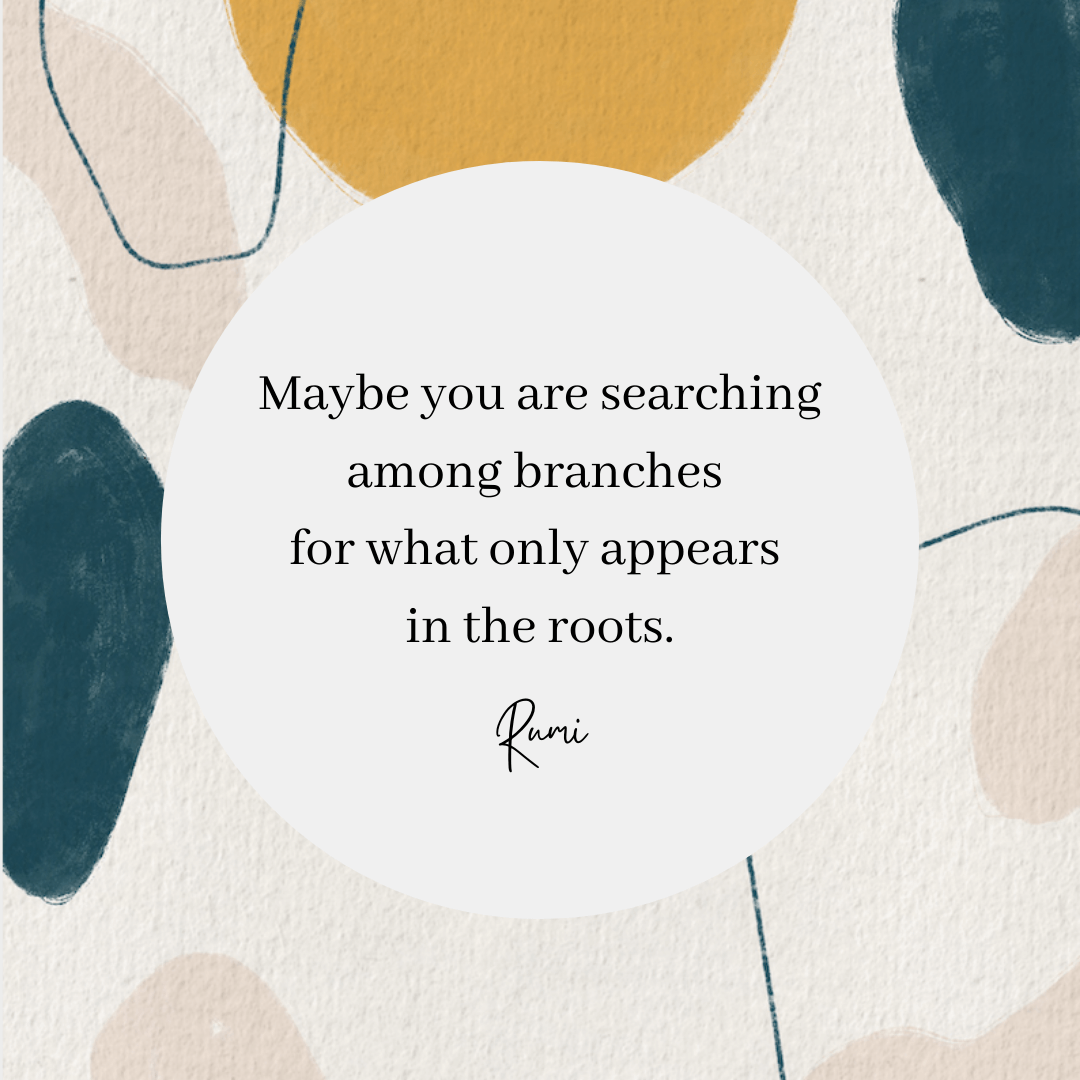 A Rumi quote that reads: Maybe you are searching among branches for what only appears in the roots.