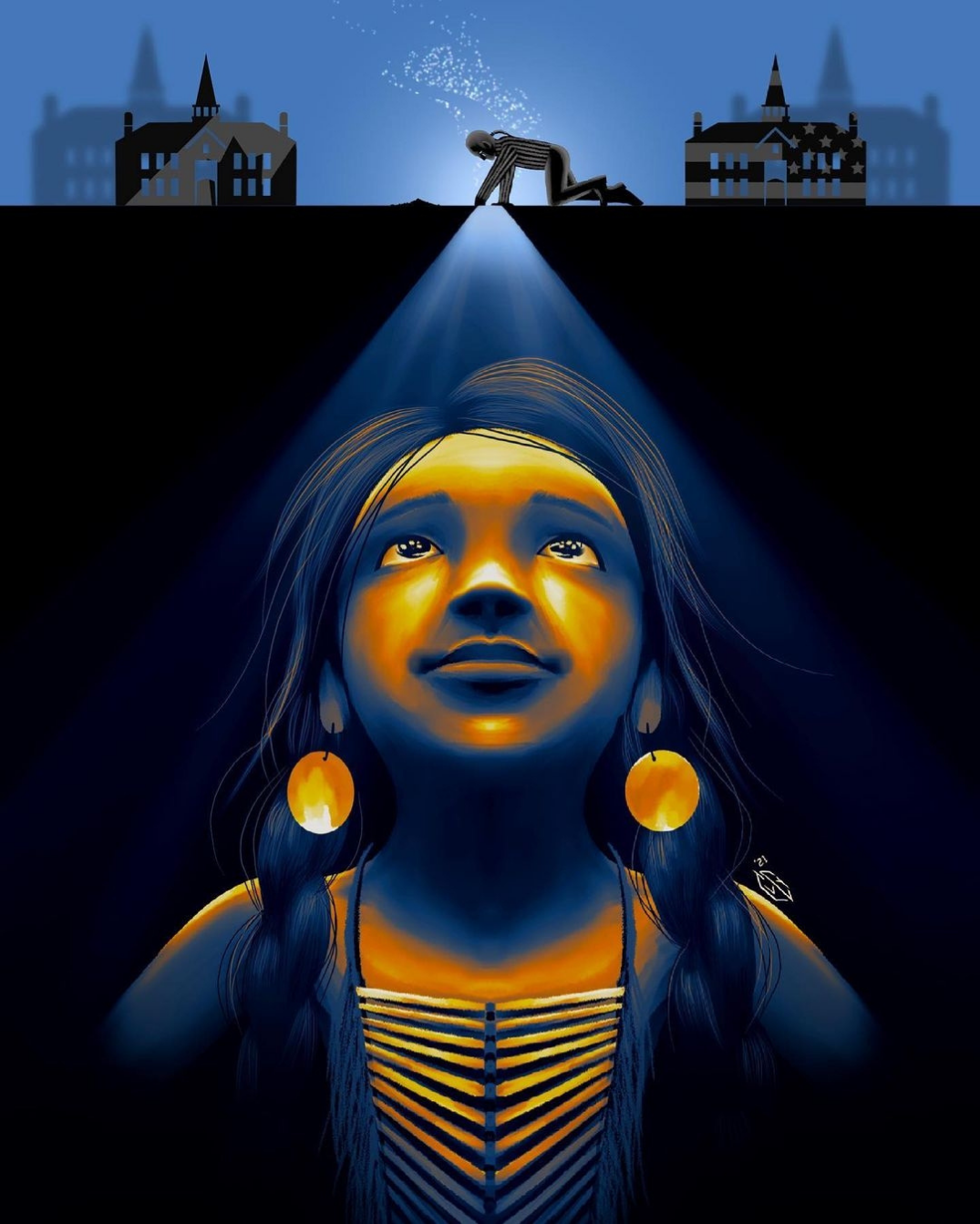 Artwork by Chad L. Yellowjohn called 'Finally Going Home' shows an Indigenous child in traditional clothing, earrings and long braided hair looking up towards the surface (they are underground) where a small figure of an Indigenous person is digging into the soil with two Indian Residential Schools in the background. The child has a slight smile on their face as if they know they have finally been found. The art is in reference to the 1000+ children's remains found on the ground of Canadian residential school.