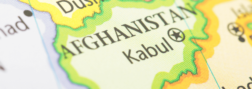 An up-close photo from Canva user CT757fan of a map showing Afghanistan and Kabul, its capital city.