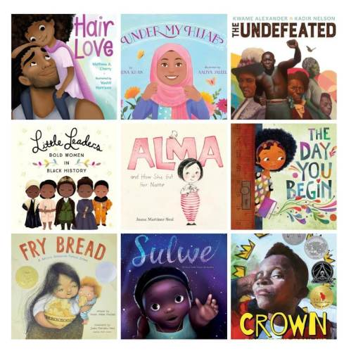 A collage of various books that were banned by Central York School District in Pennsylvania, USA (image compiled and shared from The Conscious Kid on Instagram). The titles included are: Hair Love; Under My Hijab; The Undefeated; Little Leaders Bold Women In Black History; Alma and How She Got Her Name; The Day You Begin; Fry Bread A Native American Family Story; Sulwe; The Crown.