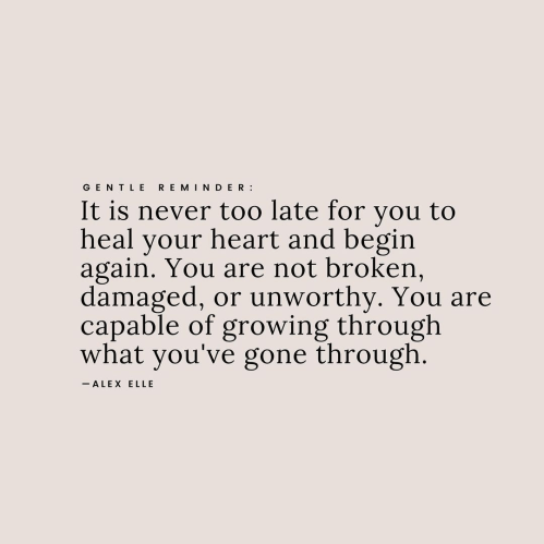 """A quote by Alex Elle that reads: """"It is never too late for you too heal your heart and begin again. You are not broken, damaged, or unworthy. You are capable of growing through what you've gone through."""""""